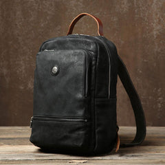 Handmade Leather Mens Cool Black Backpack Bag Large Travel Bag Hiking Bag for Men
