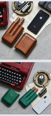 Cool Brown Leather Mens 3pcs Cigar Case Cool Custom Leather Cigar Case for Men