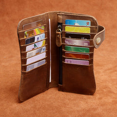 Handmade Genuine Leather Long Biker Wallet Mens Cool Chain Wallet Trucker Wallet with Chain