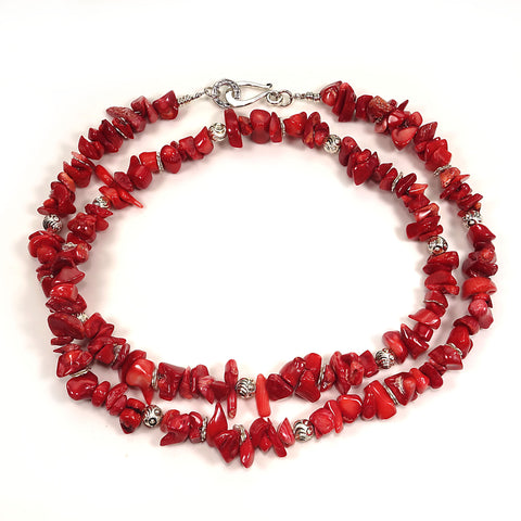 Red Coral Necklace with Silver accents