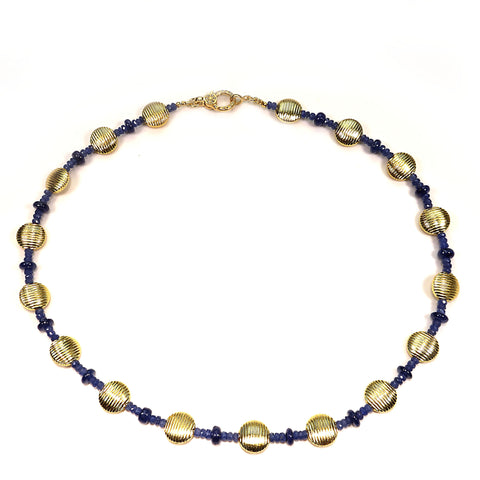 Blue Sapphire and Gold Choker Necklace
