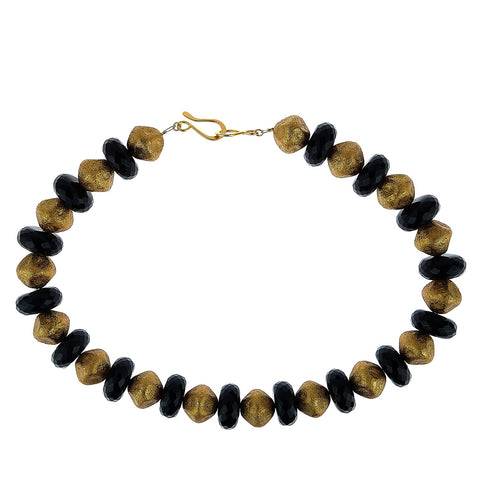 Elegant Black Onyx and Antique Gold Bead Necklace