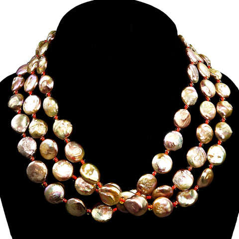 Triple strand Coin Pearl necklace in peachy/pink with peach accents