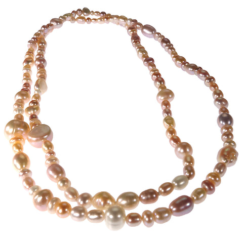 Continuous 30 Inch strand of Freshwater Natural Color Pearls
