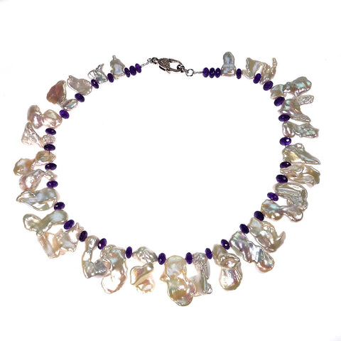 Freeform Freshwater Pearl and Amethyst Rondel Necklace