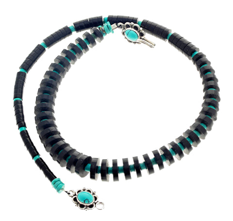 Unique Jet and Turquoise Necklace with Sterling Silver Turquoise Clasp