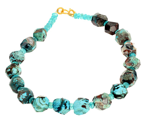 Rare Blue Ocean Jasper and Apatite Necklace