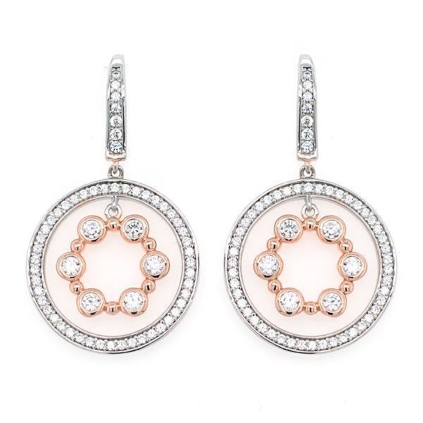 SYBELLA Two Tone CZ Circle Earrings