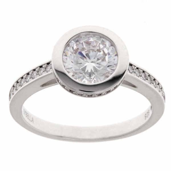 SYBELLA Rhodium Bezel Set Cubic Zirconia Ring