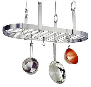 Enclume Premier 4-Point Oval Ceiling Rack with Grid, Stainless Steel