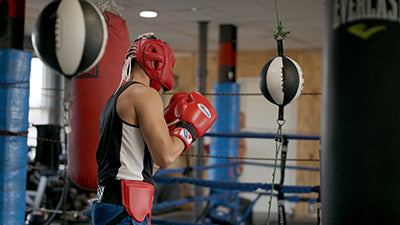 Boxing in gym