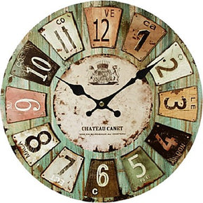 Artistic Retro European Style Rustic Wooden Wall Clock