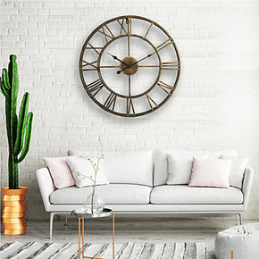 Wall Clock, 20'' Round Centurian Classic Metal Wrought Iron Roman Numeral Style Home Decor Analog Metal Clock