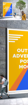 Outdoor Advertising Poster with People Mockup PSD