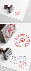 Wood and Metallic Vintage Rubber Stamp Logo PSD MockUp