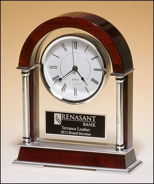 Airflyte Mantle clock with rosewood piano-finish wood, chrome-plated posts and brushed silver aluminum accents