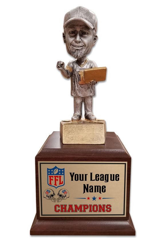 Fantasy Football League Bobblehead bobble head bobble-head perpetual trophy trophies custom customized FFL Best Cheap Brown Black Base