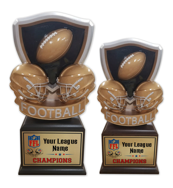 Fantasy Football League Dueling Helmets Resin Box Base Trophies with Perpetual Options