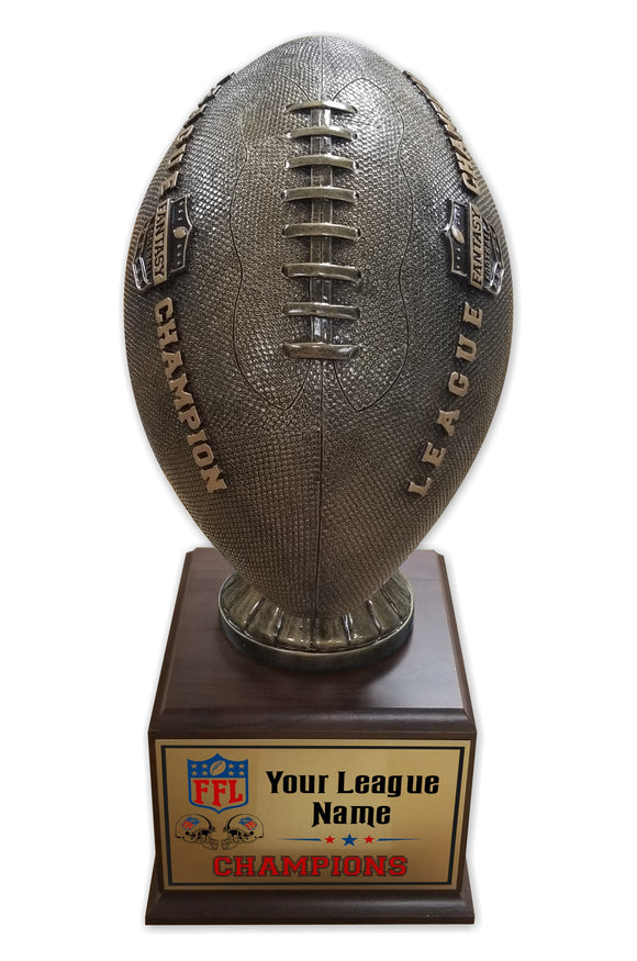 Fantasy Football League Textured Football Resin Box Base Trophy with Perpetual Options