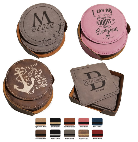Leatherette Laser Engraved 6-Coaster Sets Round and Square | 10 COLORS