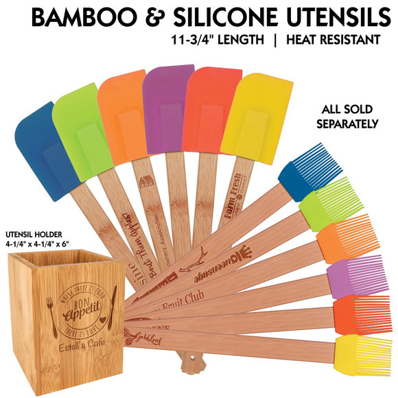 Customizable All Natural Bamboo Silicone Utensils and Utensil Holder | 13 OPTIONS