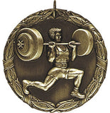 "2"" XR Series weightlifting weights powerlifterAward Medals on 7/8"" Neck Ribbons"