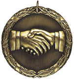 "2"" XR Series hand shake team work Award Medals on 7/8"" Neck Ribbons"