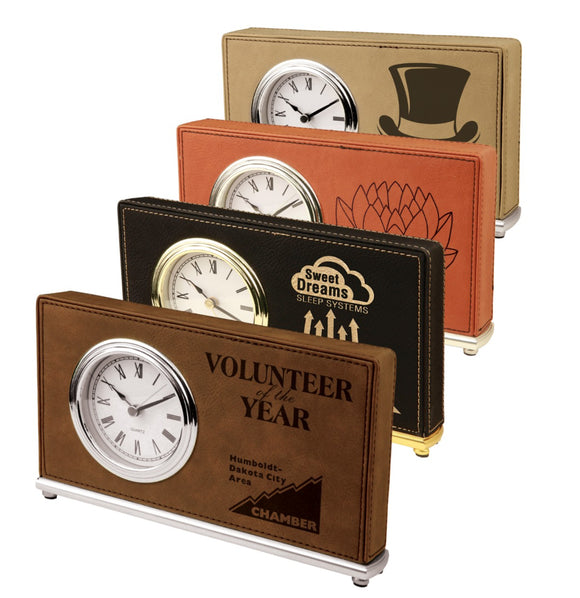 Leatherette wrapped Horizontal Desk Clocks | 4 COLORS