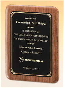 Airflyte Solid American walnut plaque with a precision elliptical edge and a black brass plate with gold border | 5 SIZES
