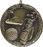 "2"" XR Series golf Award Medals on 7/8"" Neck Ribbons"
