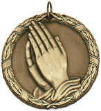 "2"" XR Series praying hands religious christian Award Medals on 7/8"" Neck Ribbons"