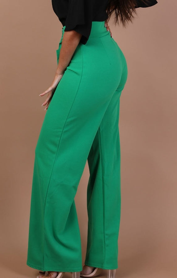 Green High Waist Belted Wide Leg Trousers – Tamara