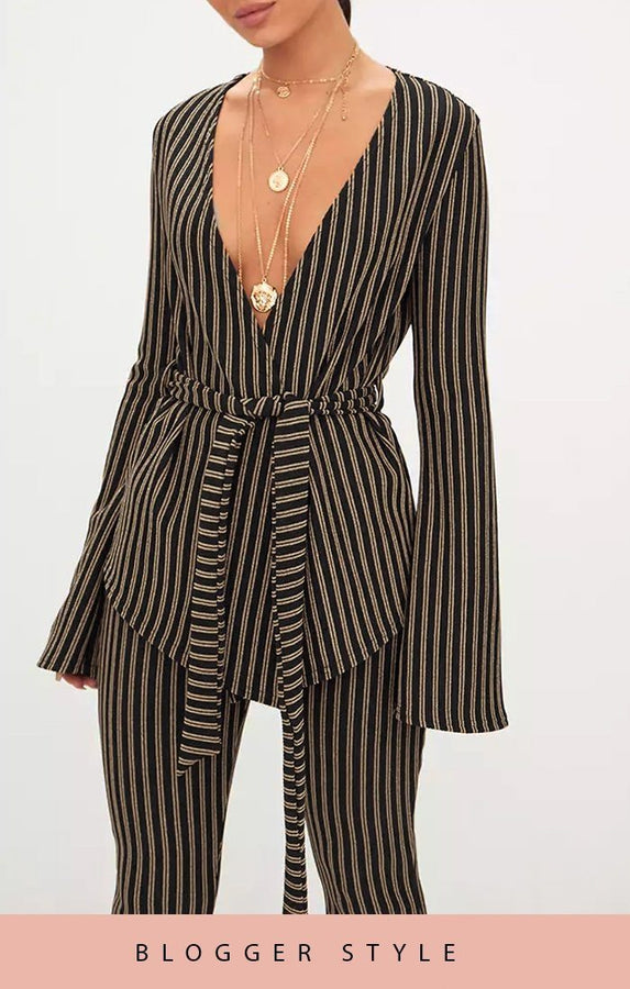 Black And Gold Glitter Stripe Bell Sleeve Blazer