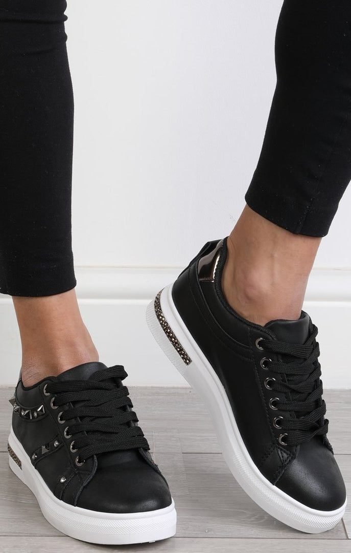 Black Studded Diamante Trainers - Charlotte