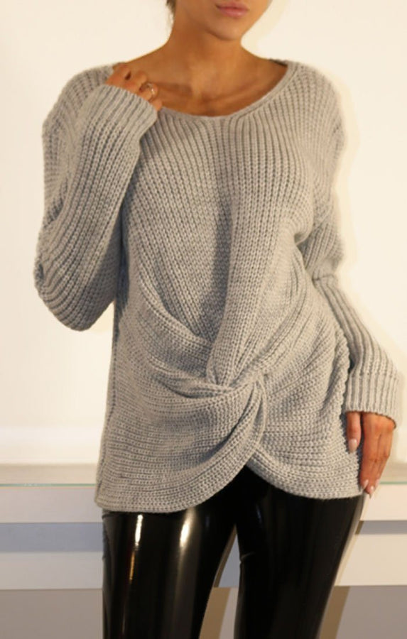 Grey Twisted Front Knitted Jumper