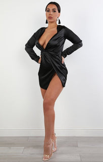 Black Satin Wrap Dress - Ivy