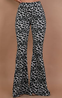 Grey High Waisted Animal Leopard Print Flared Trousers - Olivia
