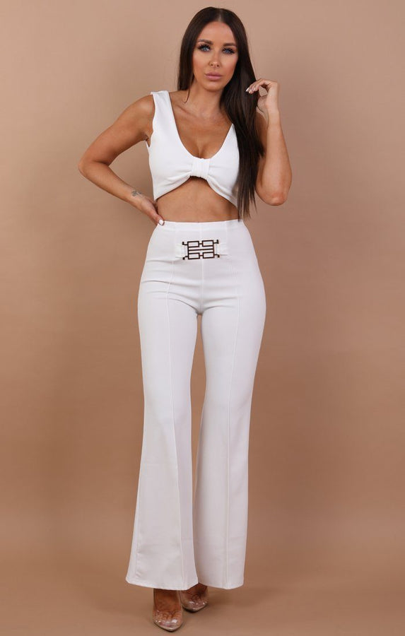 Flared Buckle Detail Trousers - Siobhan