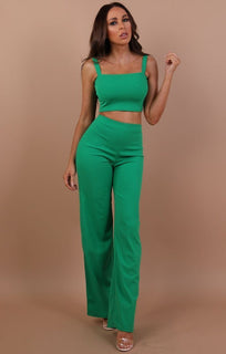 Green Crop Top And Trousers Co-ord Set - Faith