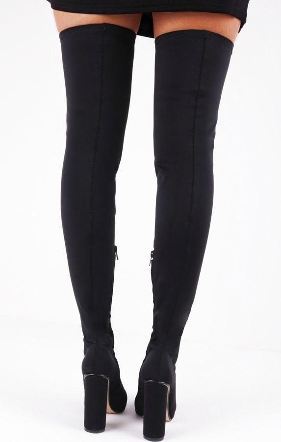 Black Lycra Over The Knee Sock Boots