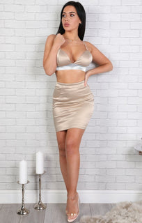 Beige Bodycon Two Piece Co-ord Set-bethany