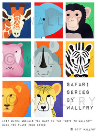 Nursery decor, SET OF ANY 4 safari animal canvas wrap series. African animal zoo animal canvas wall art for kids. Safari series by WallFry.