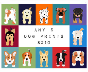 Dog prints. SET OF any 6 Dog Prints for baby child nursery art. Custom modern kids wall art for kids room decor by WallFry puppy dog nursery