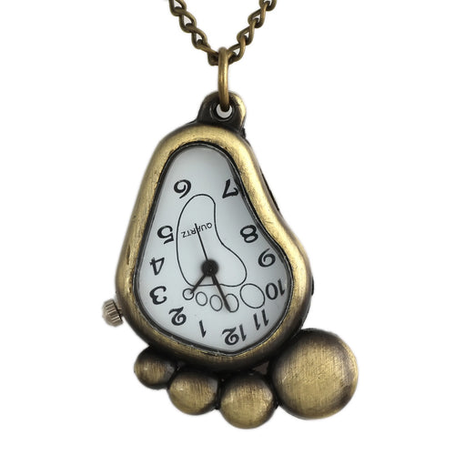 Cutie Footprint Pendant Necklace Watch