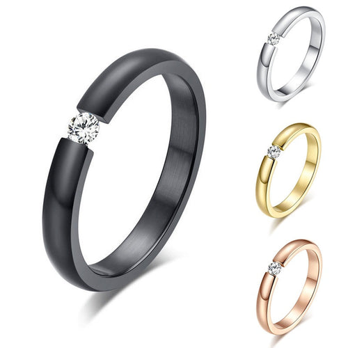 Simple Titanium Steel Couple Rings Womens Wedding Band