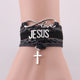 Leather strap with JESUS, love and a Cross Bracelet