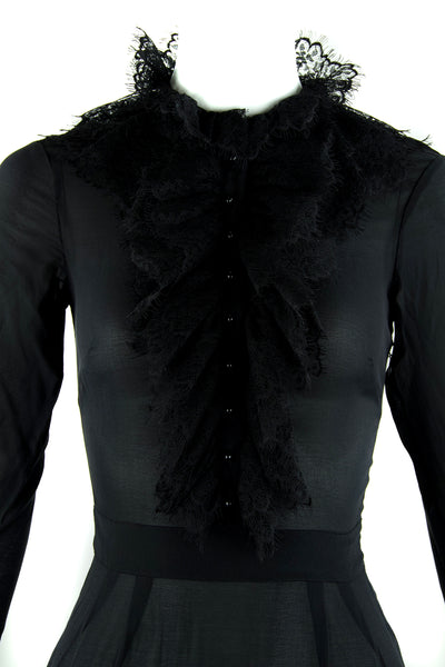 Agent Provocateur Long Sleeve Black Dress with Lace Collar and Trim