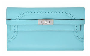 Hermes Ghillies Kelly Wallet in Blue Atoll with Palladium