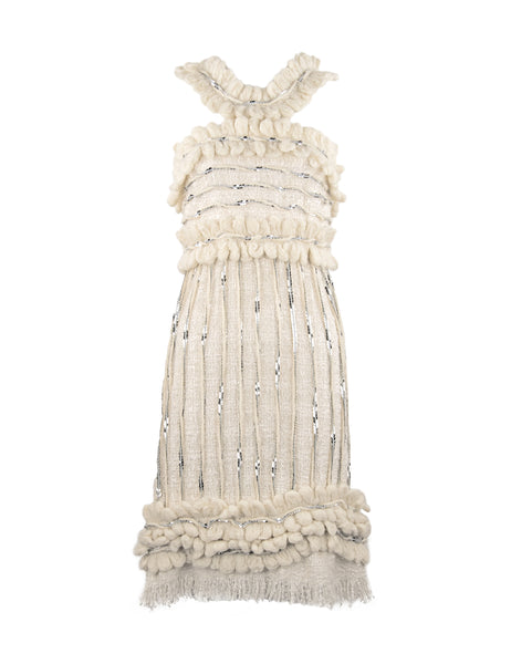 Chanel Ivory Dress with Silver Sequins