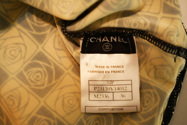 Vintage Chanel Checkered Rose Print Lycra Dress